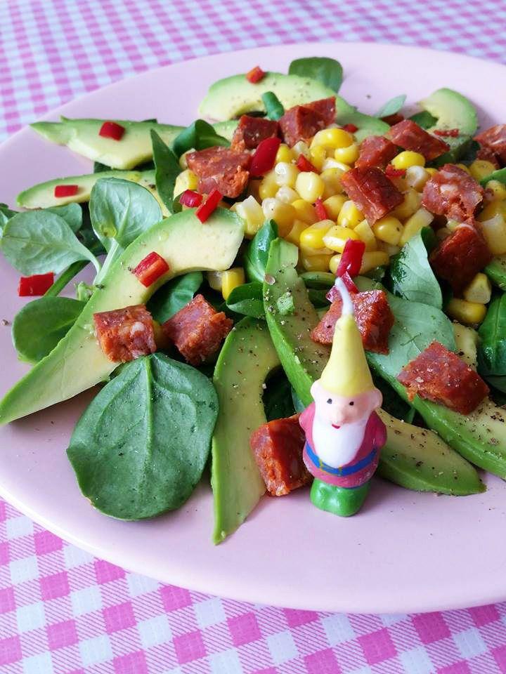 Spaanse salade met maïs en chorizo / Spanish Salad with corn and chorizo