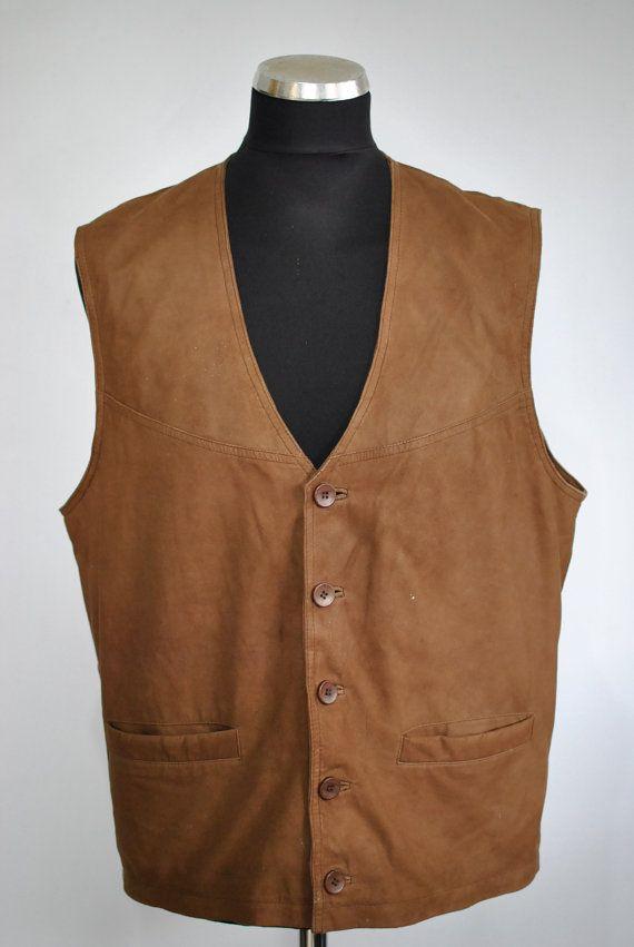 Vintage LEATHER VEST men's leather vest......040 by TheArtofReUSE