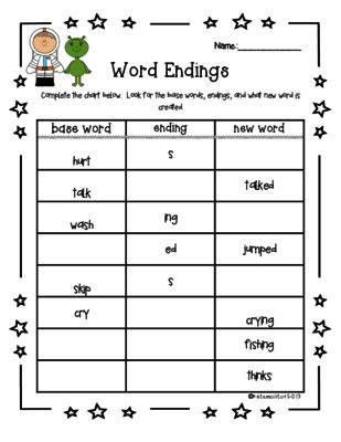 S, ED, ING Worksheet (Inflected Endings) from katemoli on ...