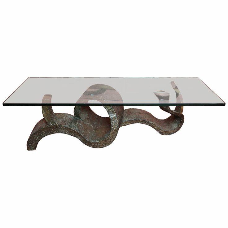"""""""Wave Crest,"""" Unique Studio Made Cocktail Table by Philip & Kelvin LaVerne.  c.1972"""