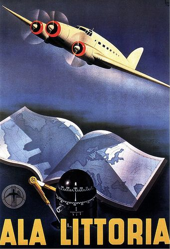 Ala Littoria. 1939. Italy. Air Travel Poster