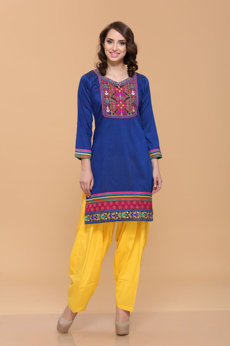 Blue Silky Cotton Slub Kurti Design No. 4052  Price $26.61 Andaaz Fashion new arrival designer kurtis collection like Blue Silky Cotton Slub Kurti. This dress is embellished with Resham and Quarter Sleeve Kameez, Knee Length Kameez, Asymmetrical Neck Kameez. This is prefect for Casual and Evening wear. For More Details Visit Here @ http://www.andaazfashion.us/