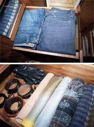This peek inside two drawers in the closet showcases the organization: folded jeans, coiled belts, paired gloves and rolled scarves.
