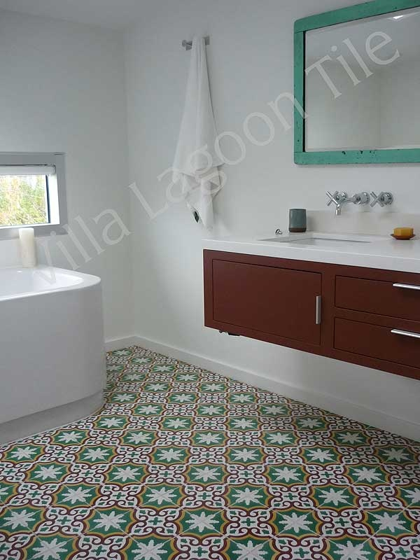 Encaustic Cement Tile Bathroom Floor In Vancouver.tile From Villa Lagoon  Tile