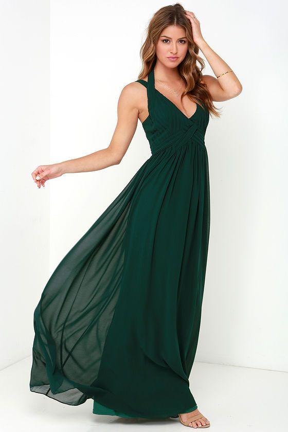 Strike a Minerva Dark Green Maxi Dress at Lulus.com!