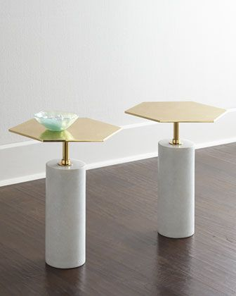 Phoebe Brass-Top Table at Horchow. I love love love these tiny table if you end up doing the gilt ceiling and other gold accents!  So stunning and chic.  $615 ea on sale.