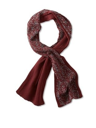 Amicale Men's Two-Tone Scarf (Oxblood/Grey)
