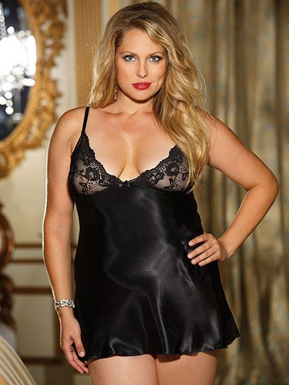 Charmeuse and Stretch Lace Chemise