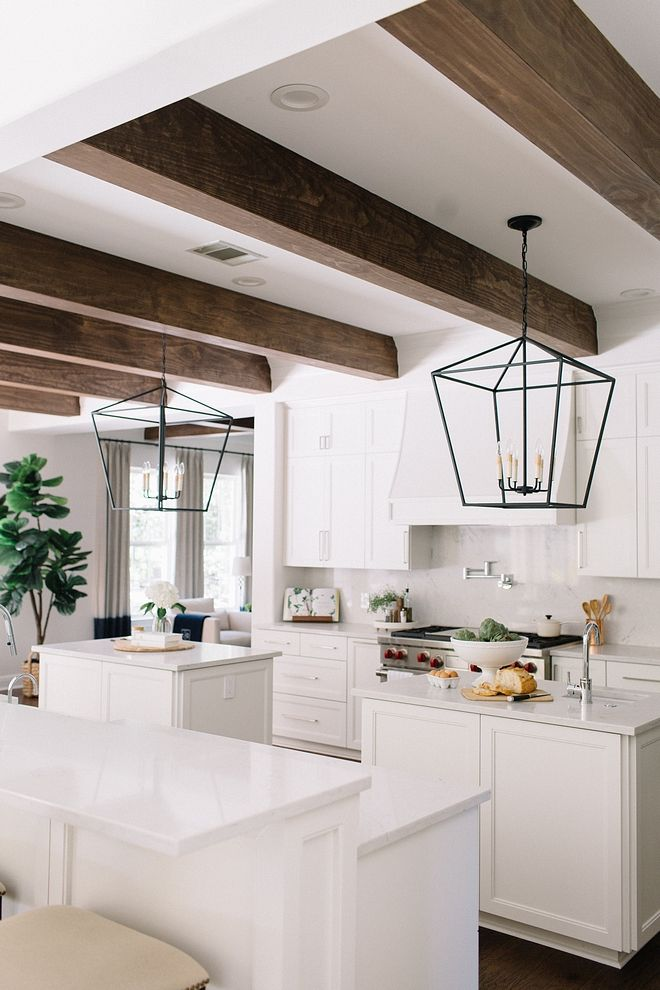Clean Chunky Beams In Kitchen And Living Room Homedesign