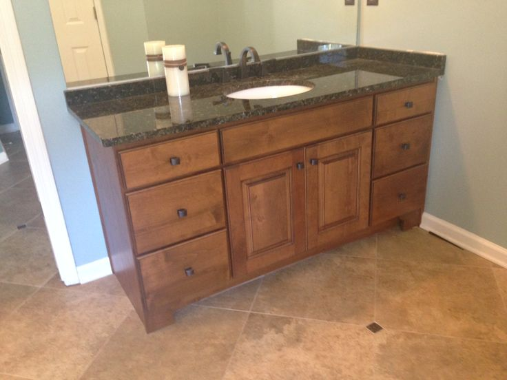 Alder Cabinet With Verde Butterfly Granite And Delta Dryden Faucet Oil Rubbed Bronze