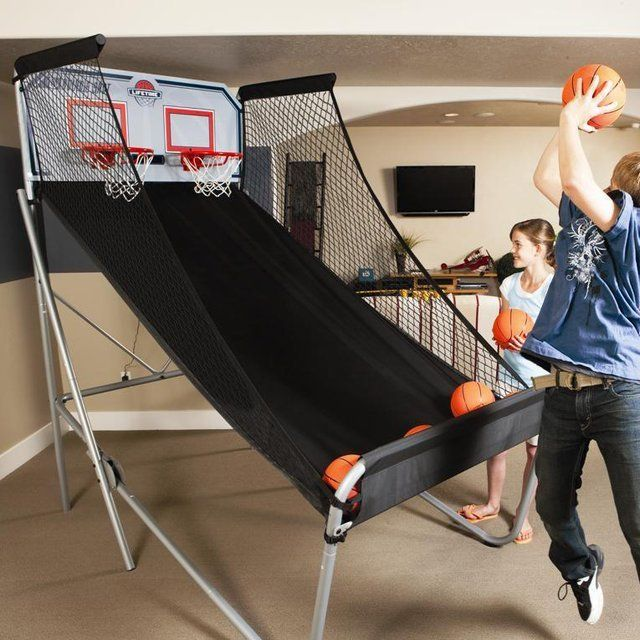 Double-Shot Arcade Basketball System / Pump up your kids with a playful mood during rainy days by installing the Double-Shot Arcade Basketball System indoors. http://thegadgetflow.com/portfolio/double-shot-arcade-basketball-system/
