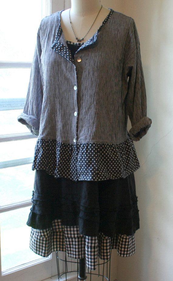 Gingham Layering Slip Gown / Lagenlook by BreatheAgainClothing