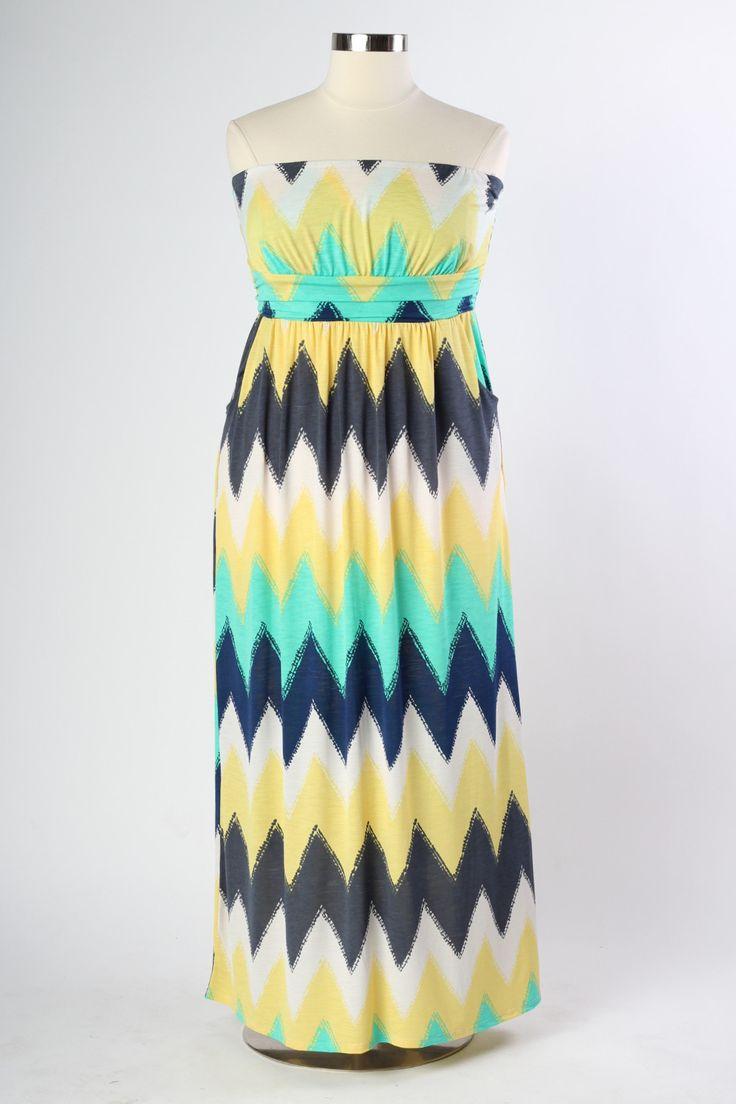 Nautical Maxi Dress - Yellow (Sizes 12 - 20)