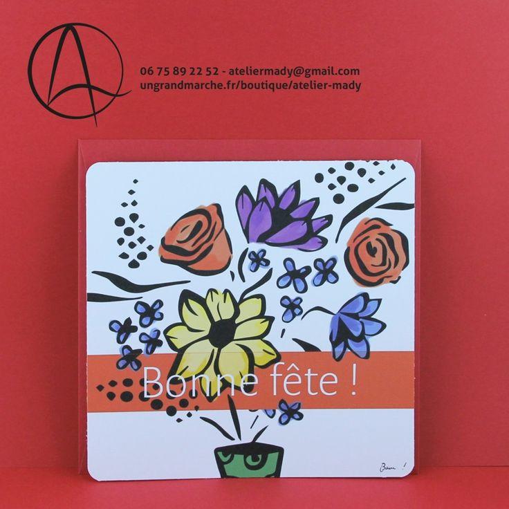 """Carte postale """"Fleurs en fête"""" illustrée d'un bouquet de fleurs et du message """"bonne fête"""""""
