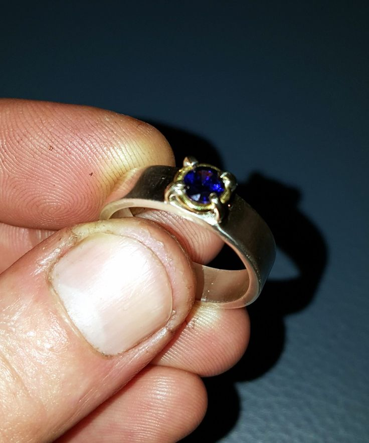handmade heavy silver ring with 5mm brilljant cut cz in 4 prong setting