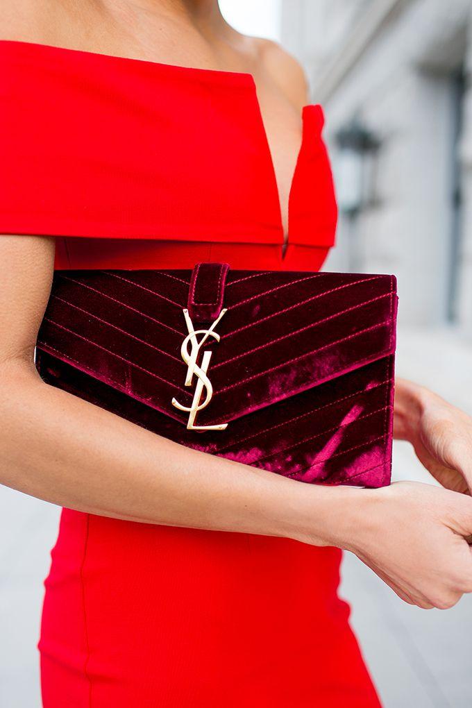 YSL burgundy velvet bag