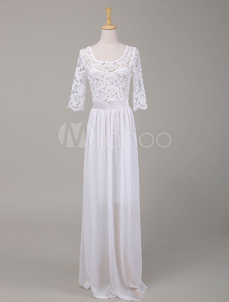 Long White Lace Dress Slim Fit Women's Maxi Dress