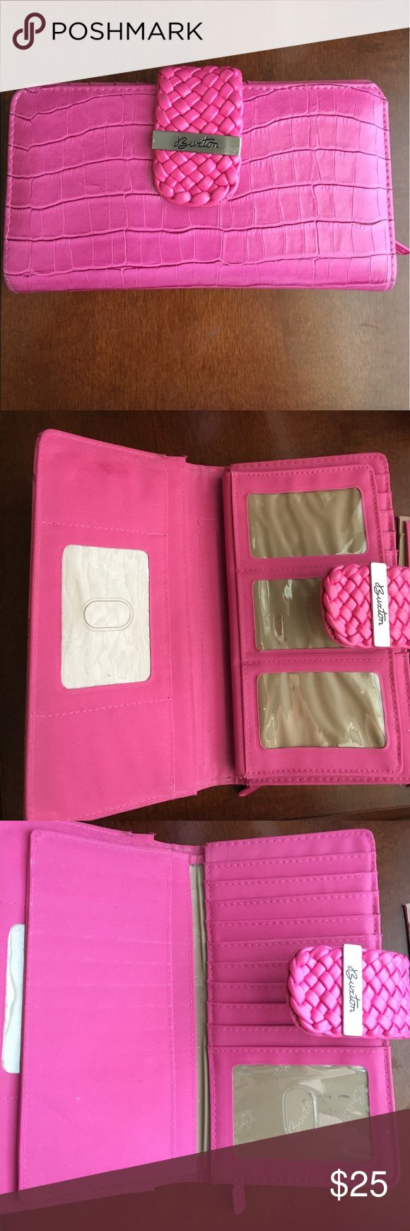 Wallet Pink Buxton wallet with multiple compartments as pictured. Snaps to close. Also, comes with a piece that can be removed or slid in (last 2 pictures). Excellent condition. Buxton Bags Wallets