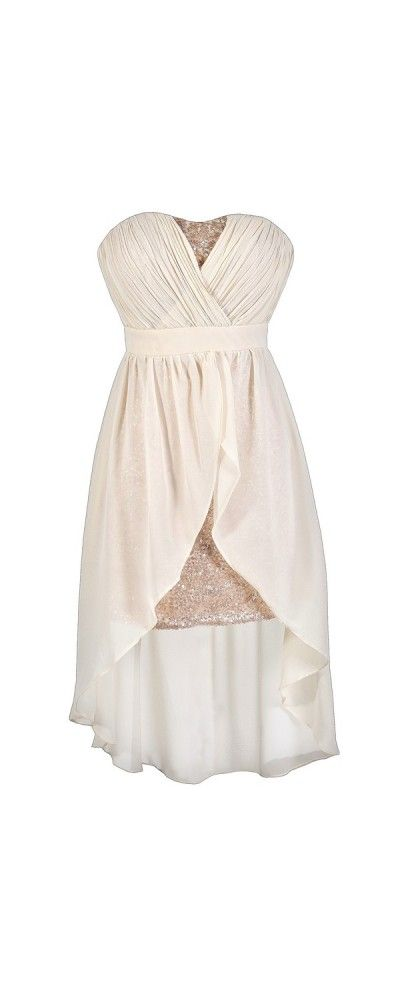 Darby Sequin and Chiffon High Low Dress in Cream  www.lilyboutique.com