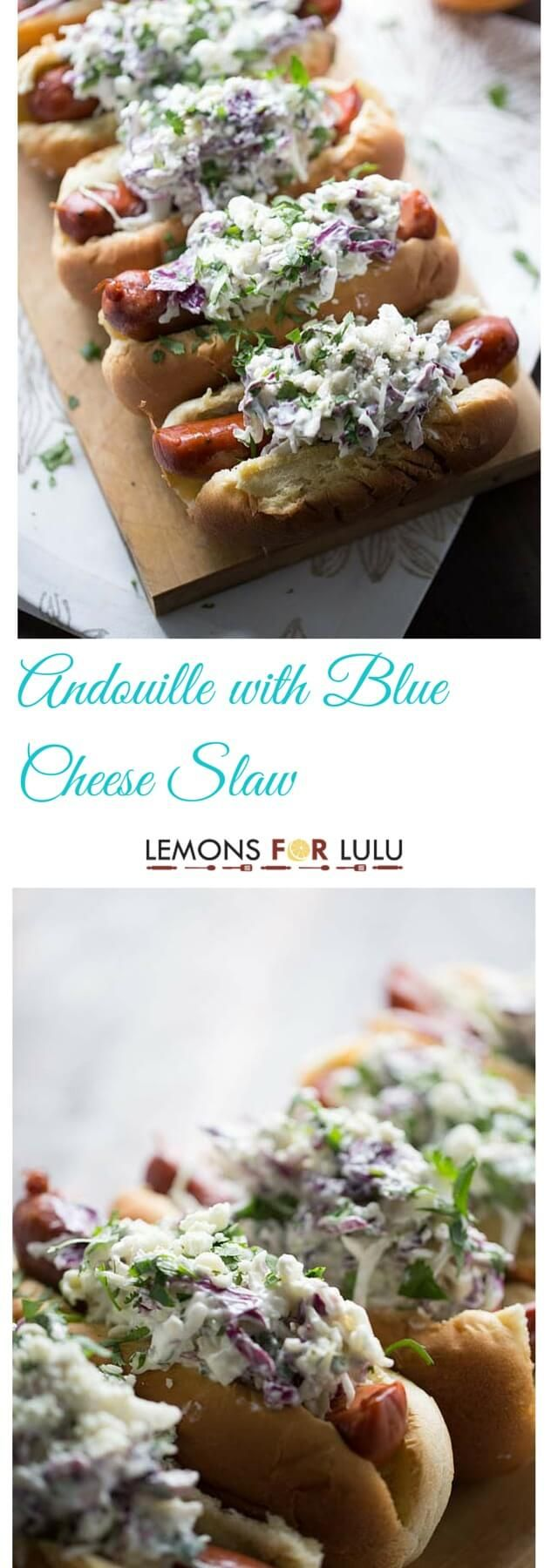Crisp andouille sausage is smothered in an easy cool and tangy blue cheese coleslaw!  lemonsforlulu.com