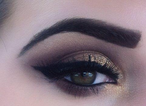 Perfect neutral with a pop!: Makeup Geek, Eye Makeup, Cat Eye, Eye Colors, Wings Eyeliner, Eye Shadows, Eyeshadows, Smokey Eye, Gold Eye