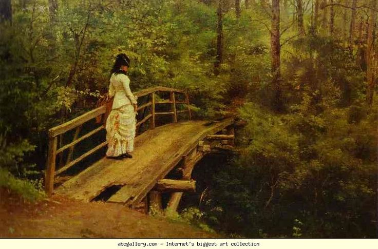 Ilya Repin. On a Bridge in Abramtsevo. Olgas Gallery.