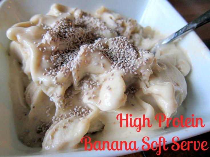 High Protein Banana Soft Serve: Butter Fingers, Frozen Yogurt, Banana Soft, Banana Ice Cream, High Protein, Peanut Butter, Dessert