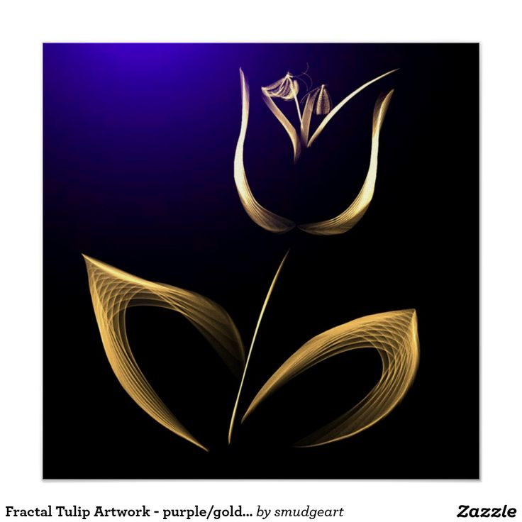 Fractal Tulip Artwork - purple/gold/black Perfect Poster
