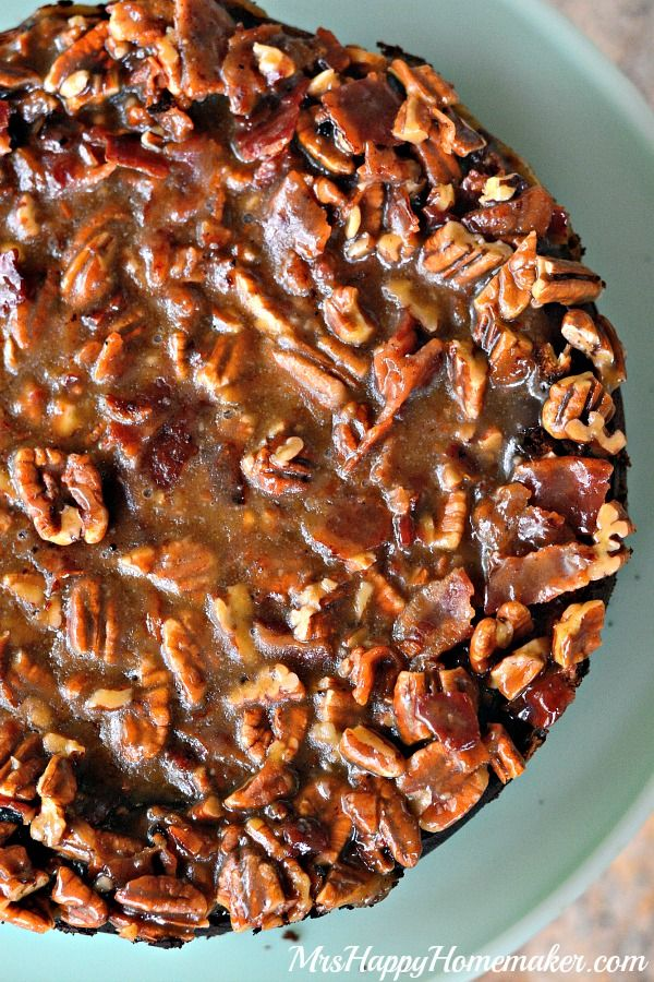 Maple Bacon Praline Cheesecake :http://www.mrshappyhomemaker.com/2015/04/maple-bacon-praline-cheesecake/
