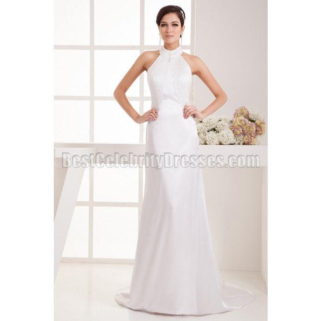 high neck halter wedding dresses | … White Beaded High Neck Halter Prom Dress Wedding Gown BCDW41377