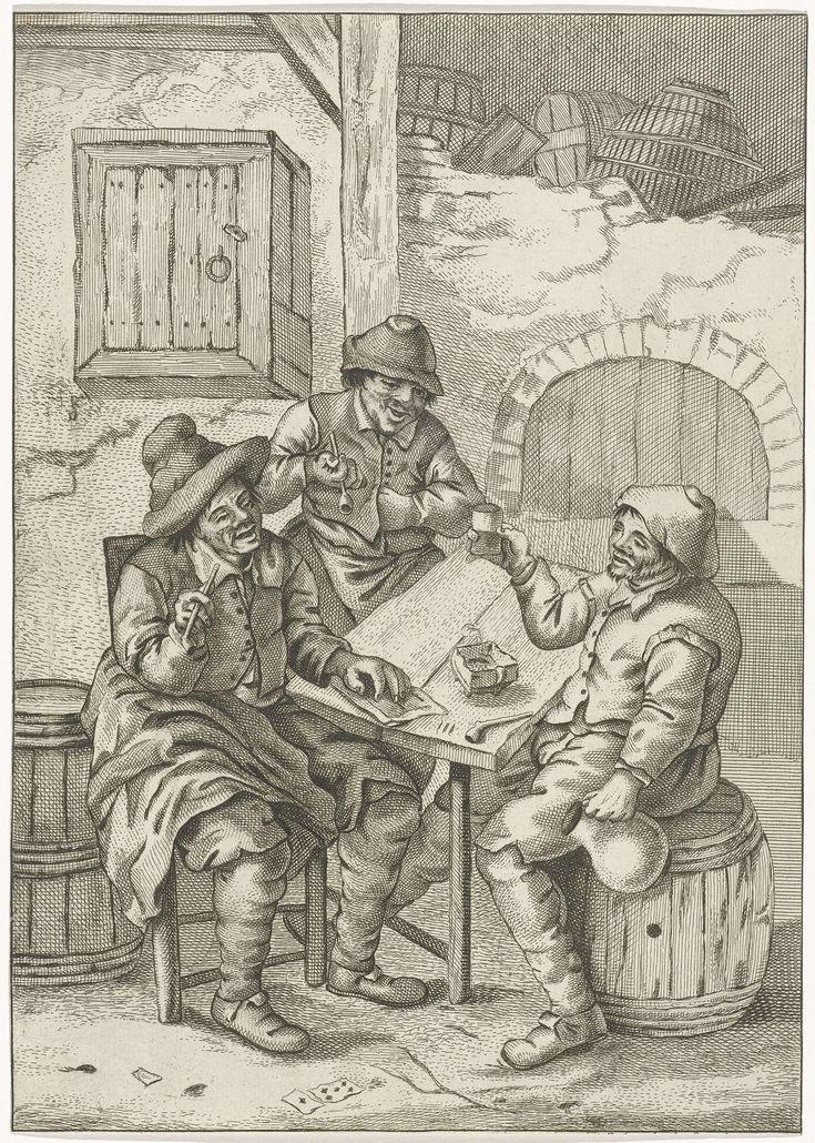 Jan Naning   Drie boeren om een tafel, Jan Naning, 1650 - 1699   Drie boeren om een tafel in een interieur. De boeren links houden beiden een pijp in de hand. De rechter boer heft met zijn ene hand zijn beker en houdt in de andere hand een kruik.