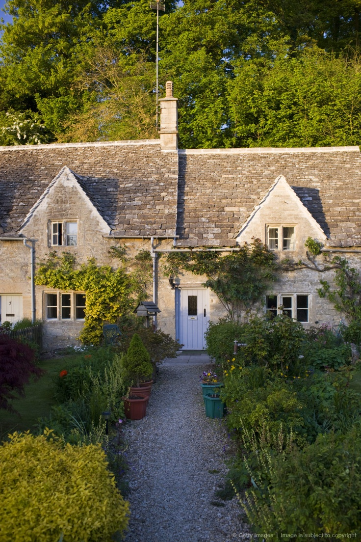Like the gravel path leading to door and shape of the house front: Image detail for -UNITED KINGDOM - MAY 11: Terrace of traditional Cotswolds stone cottages with front gardens in Bibury, The Cotswolds, Gloucestershire, UK