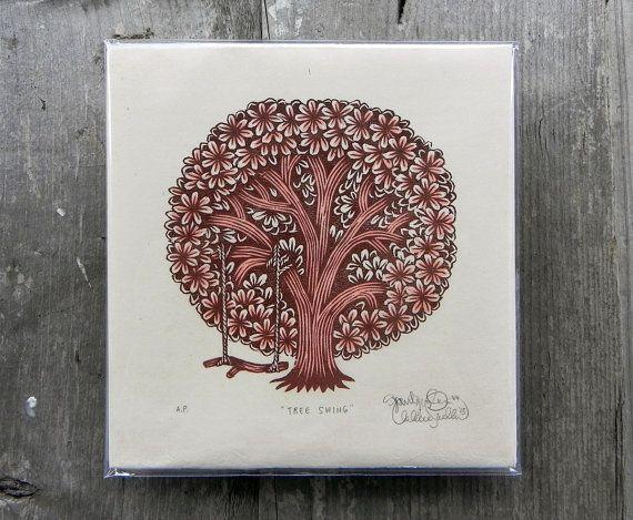 TREE SWING 6 x 5.75 Color Woodcut Print on Natural Japanese Kitakata Paper Tugboat Printshop (Paul Roden & Valerie Lueth), 2013. Edition of