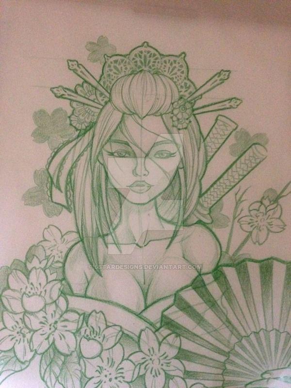 geisha sketch by 5stardesigns on DeviantArt