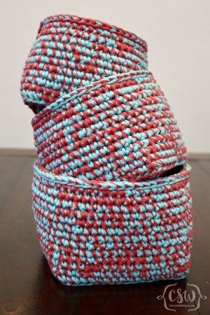 Multicolored Stacking Baskets - Free Crochet Pattern on Colorful Christine