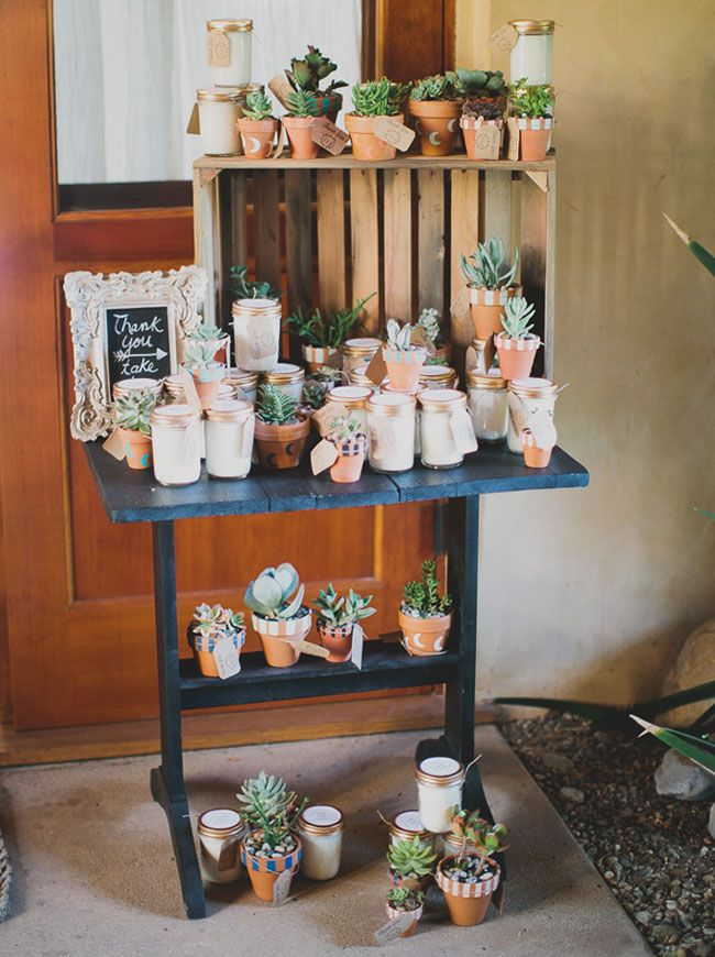 desert favors As far as wedding favors go, a little variety never hurt. An eclectic mix of southwestern-inspired pieces (think cacti and candles) will surely please.