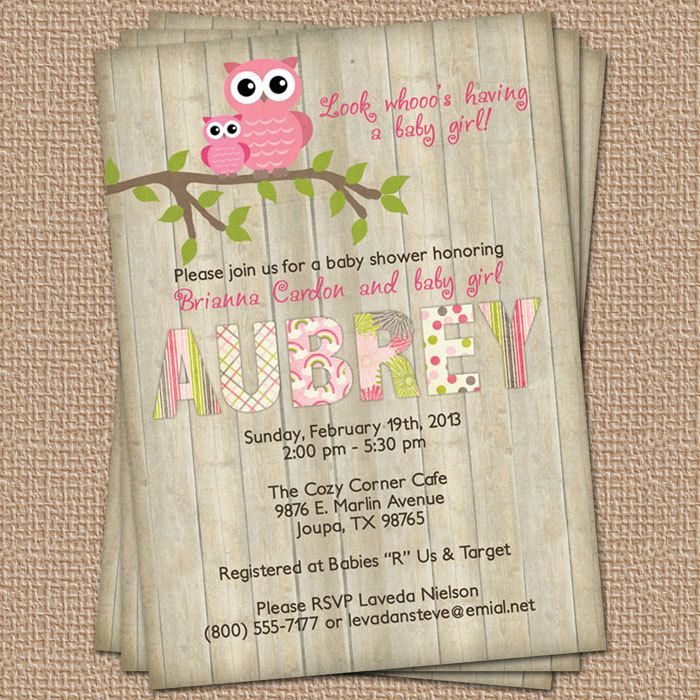 Owl baby shower invitation with wood background, digital, printable file (any colors). $13.00, via Etsy.