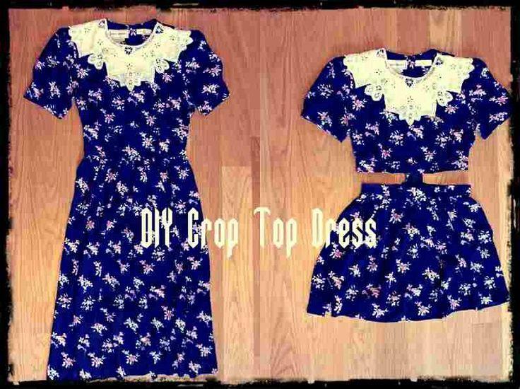 DIY crop top dress!  // smart refashion of ugly old thrift dresses.