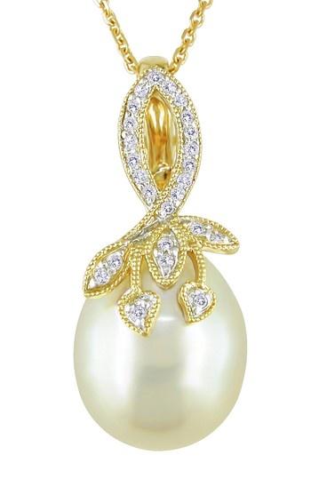 Michiko Pearls, 18K Yellow Gold 11-12mm Yellow South Sea Pearl & Diamond Leaf Motif Pendant Necklace18K Yellow, Pendants Necklaces, Diamonds Leaf, Leaf Motif, Pearls Diamonds, Michiko Pearls, Motif Pendants, Sea Pearls, South Sea