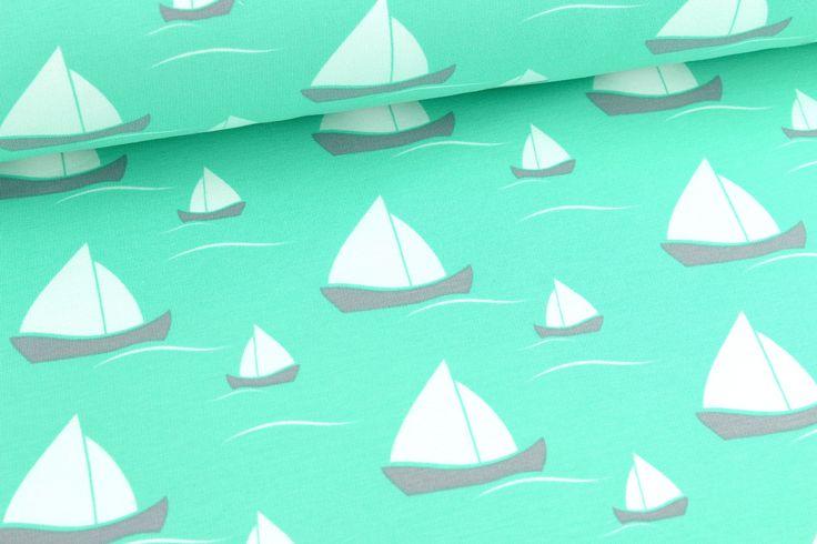 Jersey - Segelboote - Zarttürkisgrün auf alles-fuer-selbermacher.de