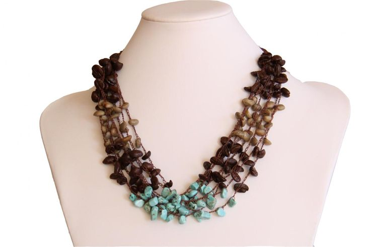 Raw & Roasted Coffee Beans with Turquoise Necklace