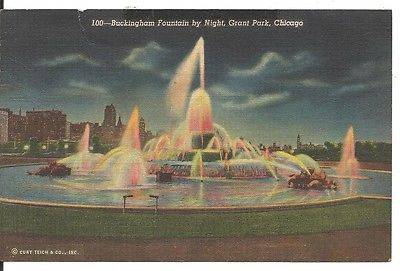 Buckingham Fountain by Night - Chicago, Illinois - Vintage Postcard