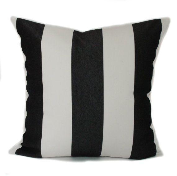 Sunbrella Pillow Covers, Sunbrella Outdoor Pillows, Black And White Stripe  Pillow, Outdoor Throw Pil