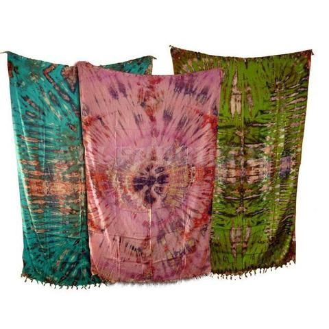 Tie-Dye Sarong With Fringe - Assorted Colours