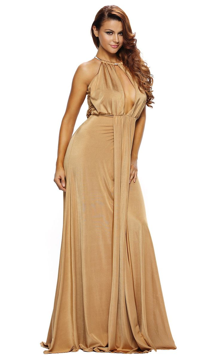 $45.99 Camel Silky Jewel Halter Jersey Evening Dress