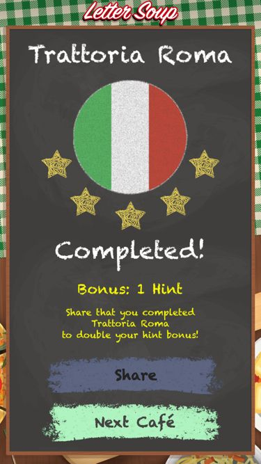 I just completed Trattoria Roma in Letter Soup!  Download FREE for iOS: LetterSoupCafe.com