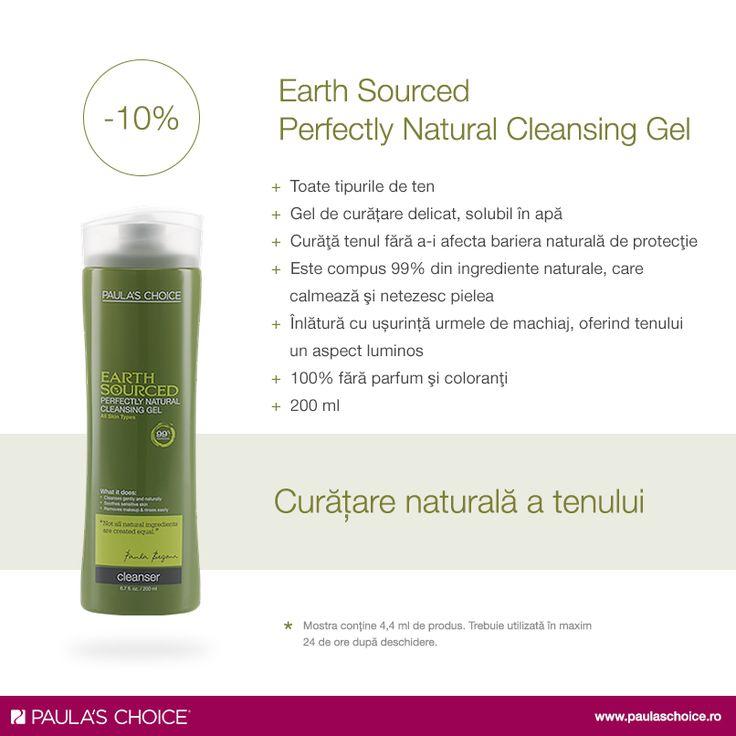 Earth Sourced Perfectly Natural Cleansing Gel a fost creat special pentru persoanele care preferă produse de îngrijire a pielii realizate din ingrediente naturale, dovedite a fi sigure şi eficiente. Acest gel răcoritor, extrem de delicat, curăţă pielea fără a-i afecta bariera naturală de protecţie. Calmează și netezește tenul, oferindu-i un aspect luminos, radiant. Creat în proporţie de 99% din ingrediente naturale, nu provoacă roșeață sau alte semne de iritație.