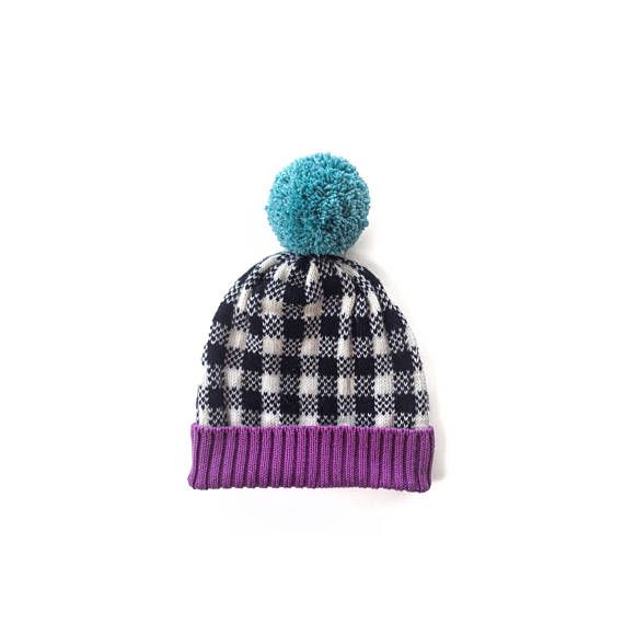 Buffalo Plaid Beanie, Plaid Knit Beanie, Fair Isle Pom Hat, Wool Pom Beanie, Folded Rib Women Hat, Knit Beanie Pom Wool, Women Hat Wool Pom