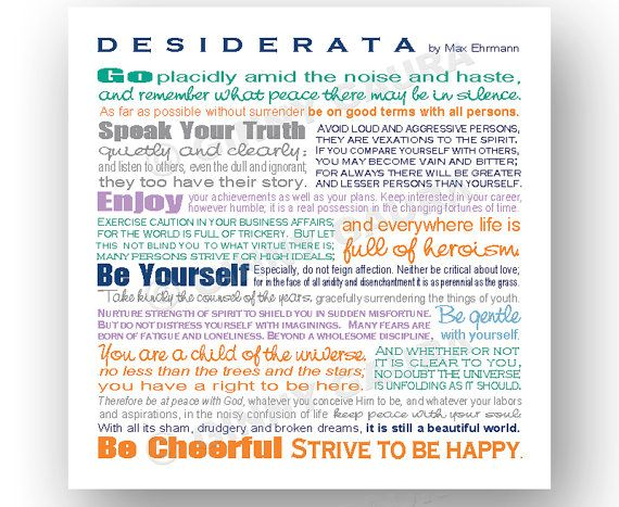 Desiderata Poem by Max Ehrmann - 8x8 Square Colorful Inspirational Typographic Print - Wall Art Home Decor Gift - Design by Ginny Gaura