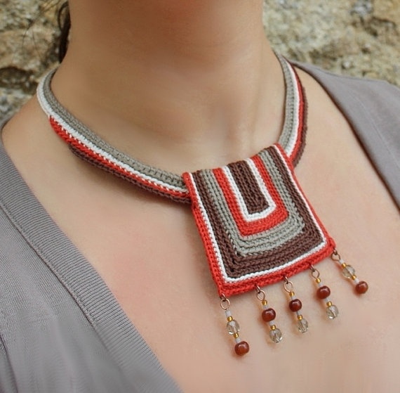 AFRICA Ethnic Tribal Cotton yarn Bib Necklace by GiadaCortellini, $43.00